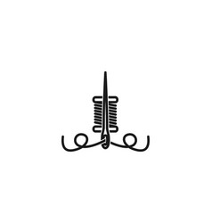 Needle and yarn tailor logo designs inspiration vector