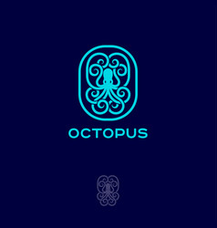 octopus emblem logo inscribed oval vector image