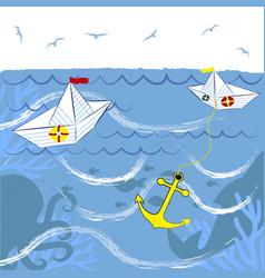 Paper boats in sea vector
