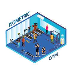people doing exercise in gym isometric artwork vector image