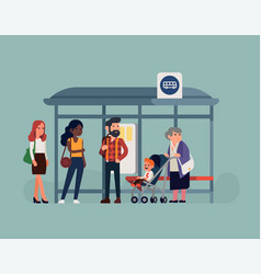 people waiting their bus at bus stop vector image
