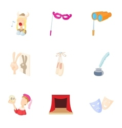 Performance icons set cartoon style vector