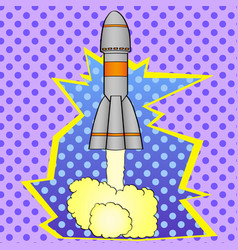 pop art space rocket takes off from planet earth vector image