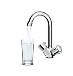 Pouring water glass from faucet vector