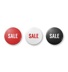 realistic 3d graphic red white and black button vector image