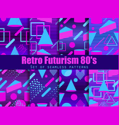 retro futurism seamless pattern set geometric vector image
