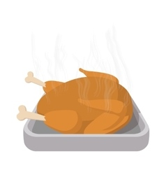 Roasted turkey cartoon icon vector