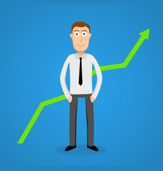 satisfy business man and growth chart vector image
