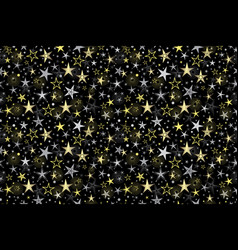 Seamless black pattern with golden and silver vector