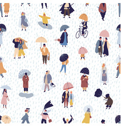 seamless pattern with people walking under vector image
