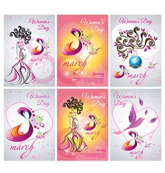 Set of greeting card template the Women day vector