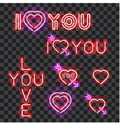 Set of neon signs i love you vector
