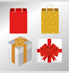 set present gift with ribbon bow vector image