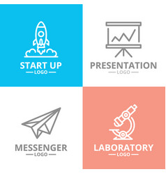 set startup and business logo or vector image