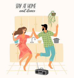 Stay at home young man and woman dancing in the vector
