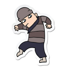 Sticker of a cartoon sneaking thief vector