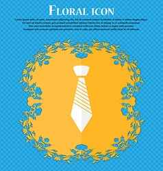Tie sign icon Business clothes symbol Floral flat vector