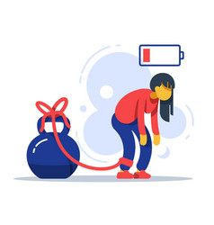 Tired woman tied to kettlebell exhausted girl vector