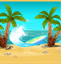 tropical beach surfboard cartoon close-up vector image