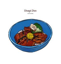 Unagi donburi japanese cuisine grilled eel with vector