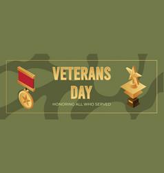 Veterans day banner design template honoring all vector