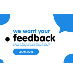 we want your feedback web banner template with vector image
