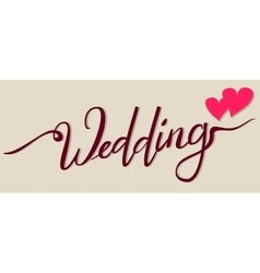 Wedding lettering text for greeting card two vector