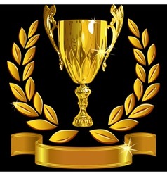 Winning gold cup laurel wreath and ribbon vector