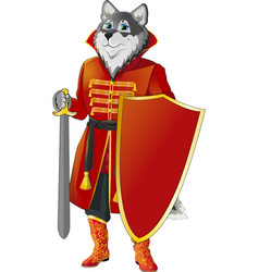 wolf with shield and sword vector image