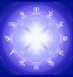 Zodiac signs set on shiny magic circle vector