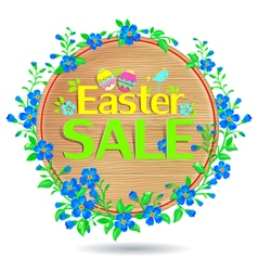 Banner Easter sale wooden vector image vector image