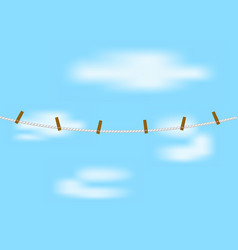 Clothespins on rope in white design vector