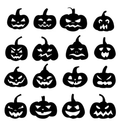 Decoration cheerful pumpkins silhouette vector image vector image