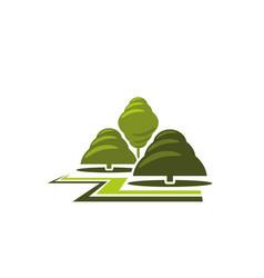 green tree park landscape gardening icon vector image vector image