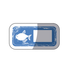 sticker old blue rectangle banner with silhouette vector image