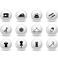 Web buttons sewing symbols vector
