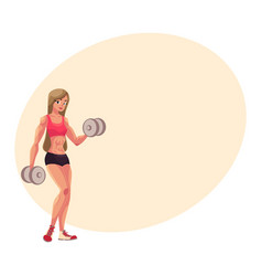 Woman bodybuilder weightlifter working out vector