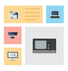 Flat icon computer set of pc notebook vintage vector