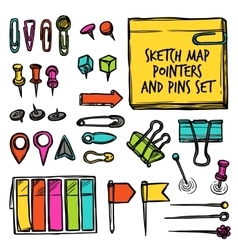 Map Pointers And Pins Sketch vector image