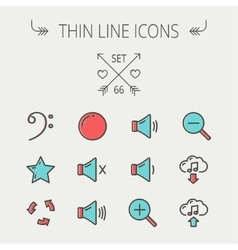 Music and entertainment thin line icon set vector image