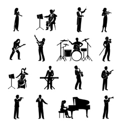 Musicians Icons Black vector image