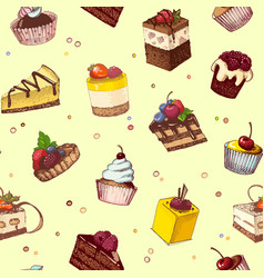 seamless background with sketches of cakes and vector image vector image
