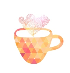 Triangle cup of tea or coffee with doodle steam vector image vector image