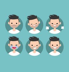 bearded man profile pics set of flat portraits vector image vector image