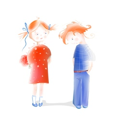 Boy Presenting Flowers to a Girl vector image vector image