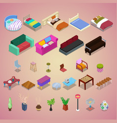 isometric bedroom furniture set with sofa chair vector image