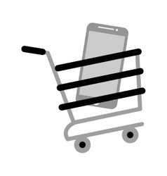 shopping cart online mobile phone screen gray vector image