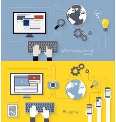 Web development and blogging design vector image