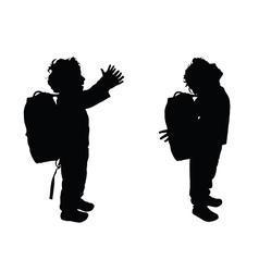 Boy happy silhouette in black color vector