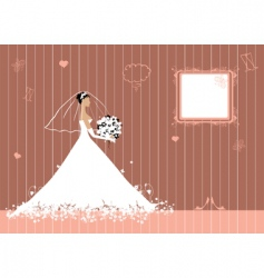 bride beautiful with bouquet vector image vector image